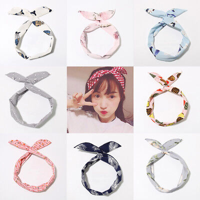Fashion Women Cute Bow Rabbit Bunny Ear Ribbon Hair Band Wire Headband Wrap Gift (Bunny Head Band)