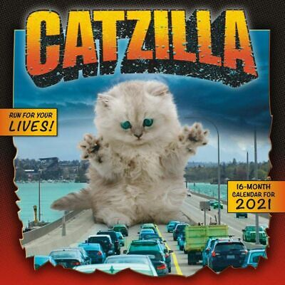 """2021 Catzilla Monthly View Wall Calendar, 16-Month, Cats Animals, 12""""x12"""""""