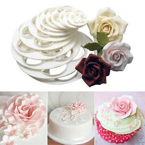 6x Fondant Cake Sugar Craft Decor Cookie Rose Flower Mold Gum Paste Cutter Sn