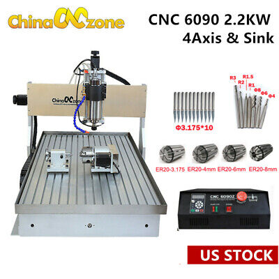 2.2kw Cnc 6090 4-axis Router Milling Cutting Engraving Mach3 Machine Sink Us