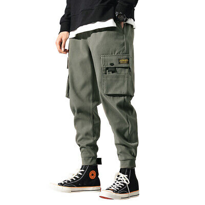 Used, Men's Cargo Work Fashion Harem Pants Fashion Pockets Urban Casual Trousers M for sale  China