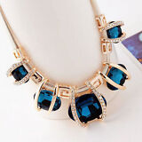 Women Fashion Crystal Pendant Chain Choker Chunky Statement Bib Blue Necklace