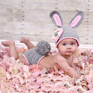 New Knitted Bunny Hat and Pom Pom Diaper
