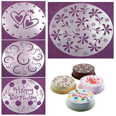 4Pc Plastic Flower Heart Cake Stencils Mold Decorating Mould Kitchen Bakery Tool