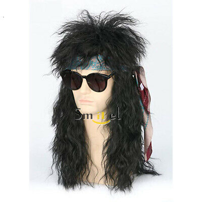 80s Wigs Halloween Costumes Men Rocker Punk Mullet Synthetic Black Curly Wig  - 80s Punk Rocker Costume
