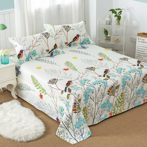 Sheet Pillowcase Cotton  Floral Printed Bed Sheet Flat  for