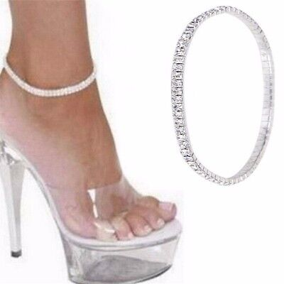 Women's Silver Crystal Anklet Foot Chain Ankle Bracelet Wedding Jewelry A34