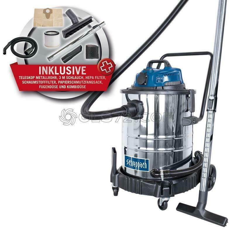 230V WET AND DRY VACUUM CLEANER STAINLESS STEEL 50 L 1400 W SCHEPPACH ASP50-ES