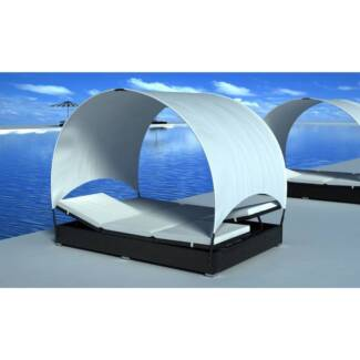 Outdoor Double Wicker Lounge Bed w/ Umbrella Black