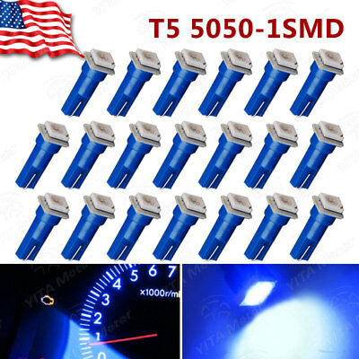 20X Pure Blue T5 5050 SMD Gauge Led Dash Instrument Panel Light Bulb 74 73