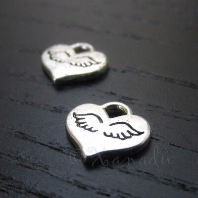 Angel Wing Hearts 10mm Antiqued Silver Plated Charms C0934 - 20, 50 Or 100PCs - Angel Charms