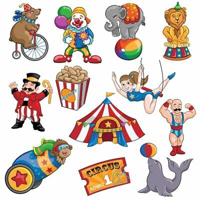 Carnival Party Supplies (12-Piece Circus Theme Carnival Cutouts Birthday Party Colorful Print)