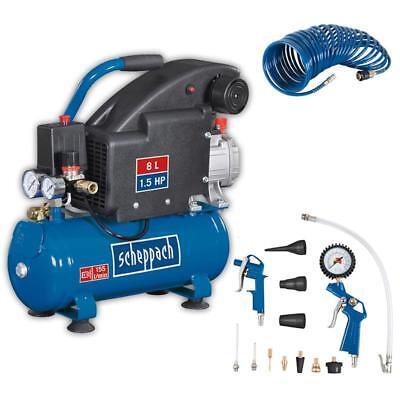 Scheppach Druckluft Kompressor 8L Luftkompressor 8bar ölgeschmiert 1,5PS HC08