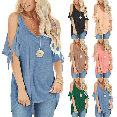Women Summer Cold Shoulder V Neck Blouse Solid Lacing Casual T Shirt Beach Tops Lace Shirt Blouse