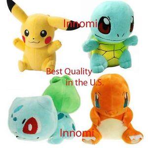 4 Pcs Set Pokemon Pikachu Bulbasaur Squirtle Charmander Plush Toy Stuffed Doll