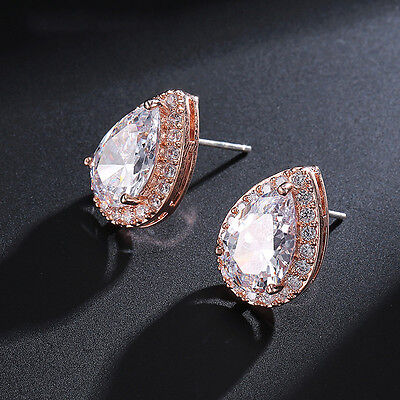 Copper Crystal Earrings - Women Exquisite Rose Gold Plated Pear Shape Copper Crystal Stud Earrings