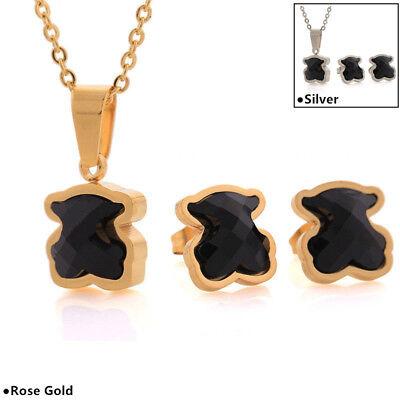 14K Gold Black Agate Bear Necklaces Earrings Women's Fashion Jewelry (14k Black Jewelry Set)
