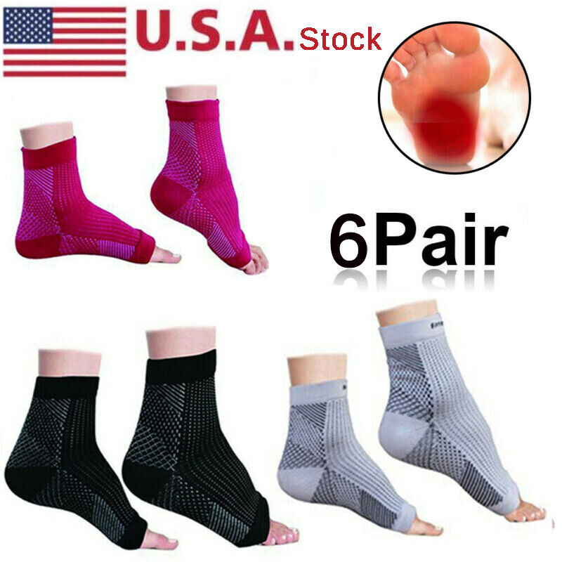 6 Pairs Ankle Sleeve Compression Support Arch Heel Planter F