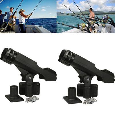 For Kayak Boat Fishing Pole Rod Holder Tackle Kit 2PC Adjustable Side Rail Mount ()