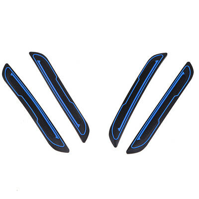 4Pcs Blue+Black Rubber Car Door Anti-collision Strip Decal Stick Guard Universal