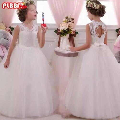 2018 Kids Flower Girl Bow Princess Dress Girls Party Wedding Bridesmaid Gown