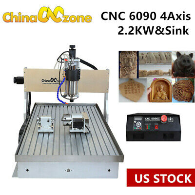 2.2kw Cnc 6090 4-axis Router Milling Engraving Machine Cutting Engraver Sink Us
