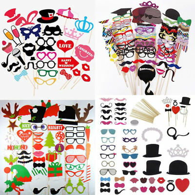 DIY Mask Photo Booth Props Mustache On A Stick Wedding Christmas Party Fun Favor - Photo Booth Fun Props