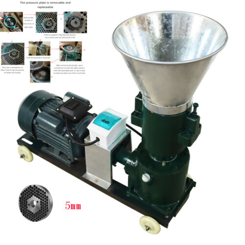 Free Shipping! Heavy Duty 220V Electric Animal Feed Pellet Machine 5mm Newest
