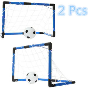 2PCS Folding Mini Soccer Goal Outdoor Sports Football Training Net W/ Pump US