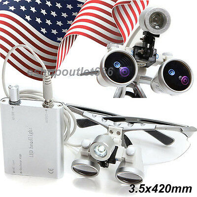 Usa-silver Dental Surgical Medical Binocular Loupes 3.5x 420mm Led Head Light