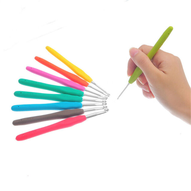 Set of 9 Multicolor Soft Grip Handle Aluminum Crochet Hooks Knitting Needles RR