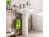 Bathroom basin and pedestal in white BNIB