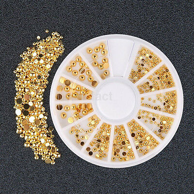 1x Fashion Gold Small Dot Metal Rivet False Nail Patch Nail Drill Nail Jewelry C