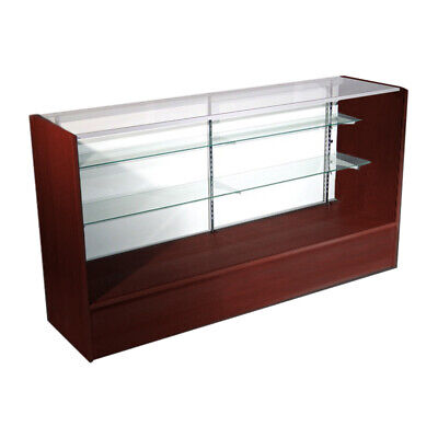 Economy Walnut Cherry Glass Display Case Showcase 48 L - New York Pickup Only