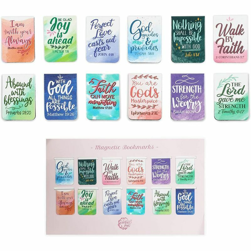 Bible Magnetic Bookmarks with Scripture Verses (1 x 1.35 In, 72 Pieces)