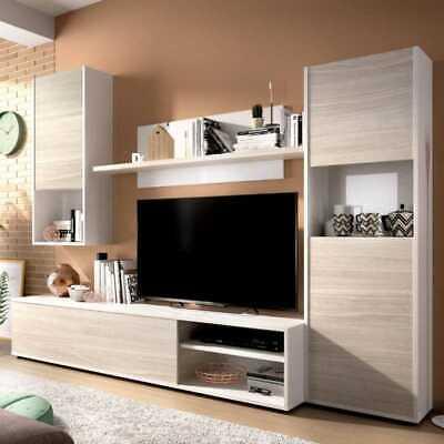 Conjunto de Salón Completo Mueble Comedor Modular Vitrina Bajo Tv Estante Pared