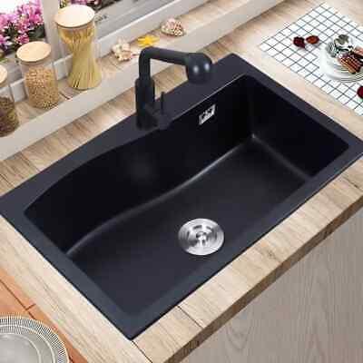 """Modern 30"""" Granite Kitchen Sink Quartz Drop-in Sink Single Bowl Sink with Drain"""