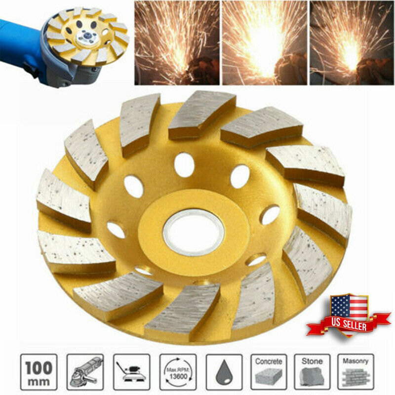 "4"" Diamond Segment Grinding Wheel Marble Concrete Granite Stone Cup Grinder Disc"