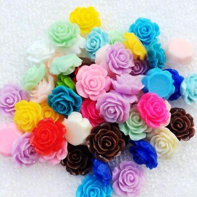 80Pcs 10mm 3D Resin Rose Flower FlatBack Scrapbook Fit Phone Embellishment (Flower Embellishment)
