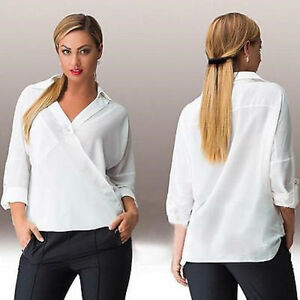White Feminine Blouse V-Neck Chiffon Shirt Top Size Large XL