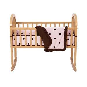 Light-Pink-Brown-Espresso-Dots-Girls-Nursery-3-Piece-Baby-Cradle-Bedding-Set
