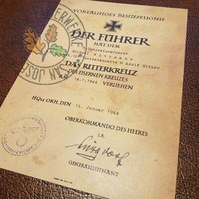 Knight's Cross of Iron Cross  document for German Panzer Ace - Michael Wittmann