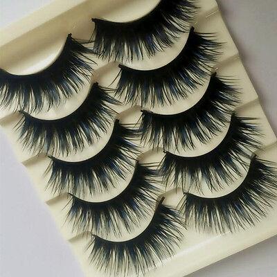 5 Pairs Blue+Black Long Thick Cross False Eyelashes Handmade lashes makeup Hot (Blue Eyelashes)