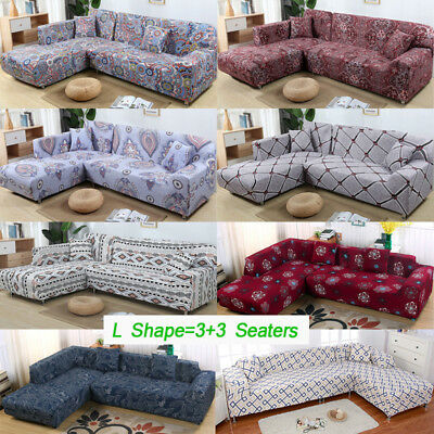 - US L Shape 3+3 Seaters Sectional Sofa Covers Polyester Fabric Stretch Slipcovers