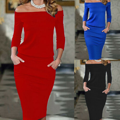 Dress - USA Fashion Women Long Sleeve Bodycon Cocktail Evening Party Pencil Mini Dress