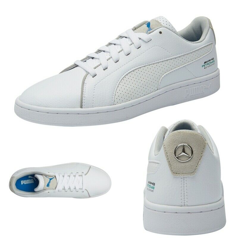 Puma Mercedes MAPM Smash V2 Mens White Leather Motorsport Low Top Sneakers Shoes
