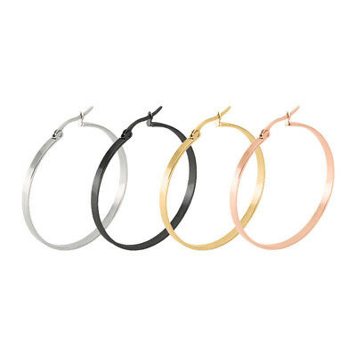 20-60mm Stainless Steel Flat Round Ring Hook Earrings Dangles Hoop Women 1Pair Hoop Round Ring