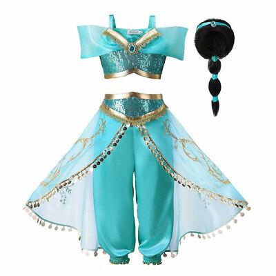 Kids Aladdin Costume Princess Jasmine Outfit Girls Sequin Party Fancy Dress Wig