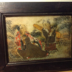 Antique Chinese Hand-Painted Marble Plaque Screen With Original