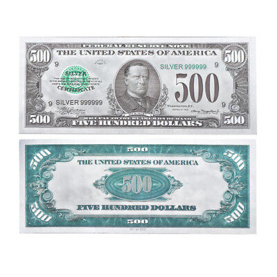 Wr Us  500 Five Hundred Dollar Colored Silver Foil Banknote Novelty Money Gifts